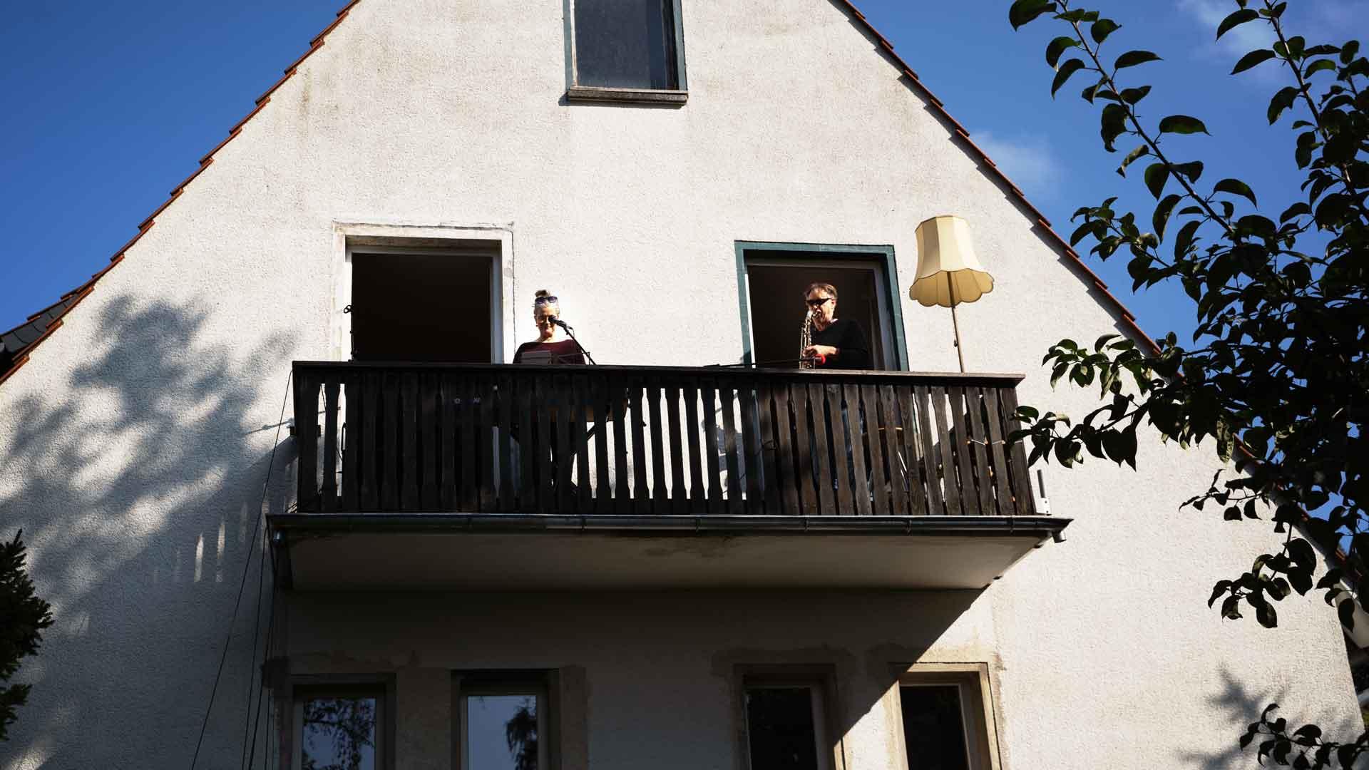 Soundcheck Suo Duo beim Balkon der freien Künste 2020