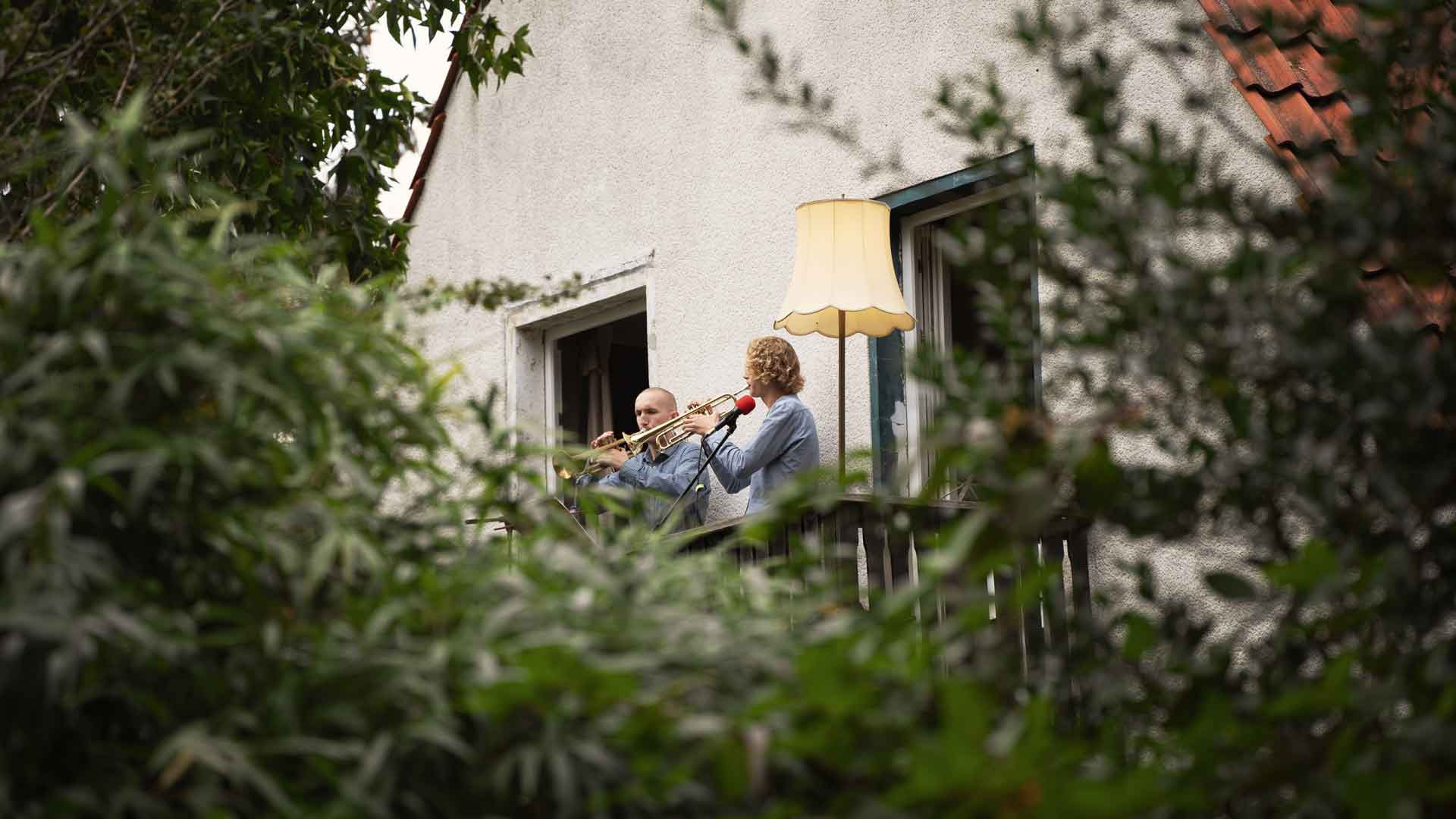 Moritz und Frieder beim Balkon der freien Künste 2020